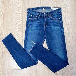 Rag & Bone High Rise Skinny Raw Hem Jeans Size 27